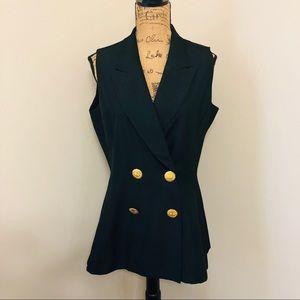 Christian Dior Black 100% Silk Vest In Size 12